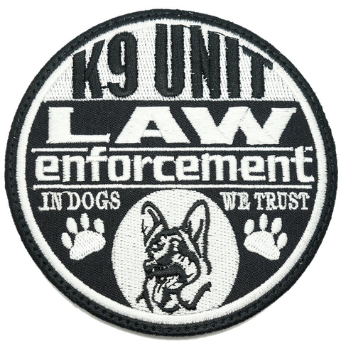 K9 LAW ENFORCEMENT PATCH - BLACK WHITE