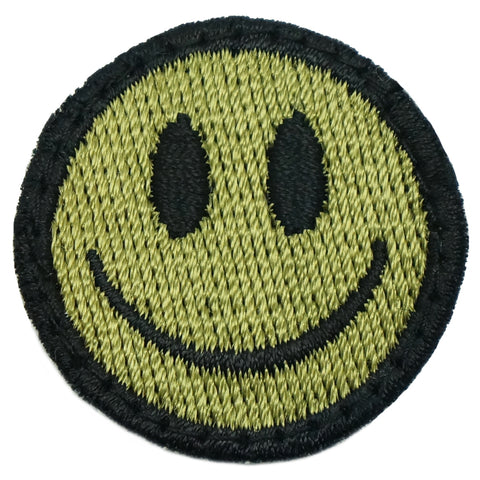 SMILEY FACE PATCH - OLIVE GREEN