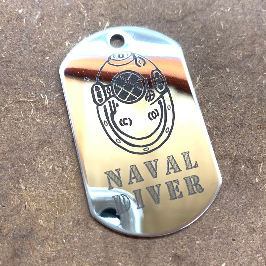 LOGO DOG TAG - STAINLESS STEEL (NAVAL DIVER)