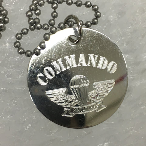 COMMANDO AIRBORNE WING DOG TAG - ROUND