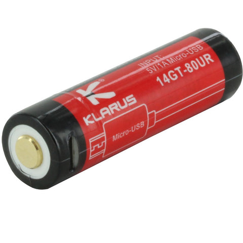 KLARUS 14GT-80UR 14500 800MAH 3.7V PROTECTED LITHIUM ION (LI-ION) HIGH-DRAIN 4A BUTTON TOP BATTERY WITH MICRO USB CHARGING PORT