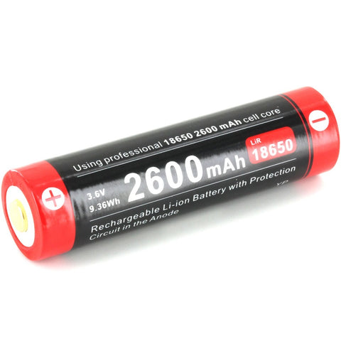 KLARUS 18650UR26 2600MAH 3.6V PROTECTED LITHIUM ION (LI-ION) BUTTON TOP BATTERY WITH MICRO CHARGING PORT