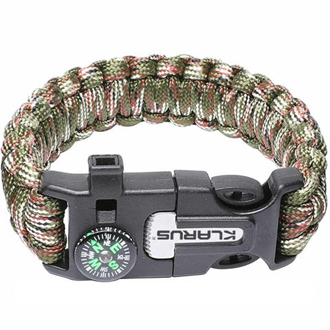 KLARUS 5-IN-1 PARACORD SURVIVAL BRACELET - 10 FEET OF PARACORD - BLACK/GREEN