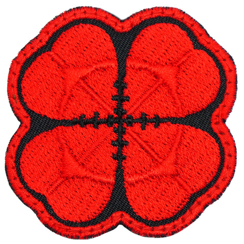 LUCKY CLOVER PATCH - BLACK RED