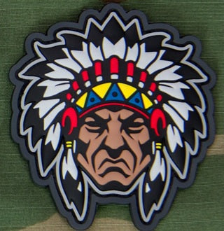 MSM NATIVE AMERICAN WARRIOR HEAD 1 MORALE PATCH - FULL COLOR