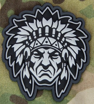 MSM NATIVE AMERICAN WARRIOR HEAD 1 MORALE PATCH - URBAN