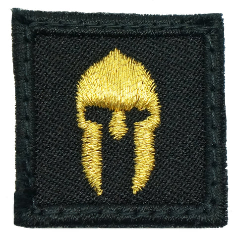 "1"" MINI SPARTAN HELMET PATCH - BLACK GOLD"