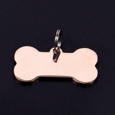 DOG BONE STAINLESS STEEL TAG - 2019 VERSION (ROSE GOLD)