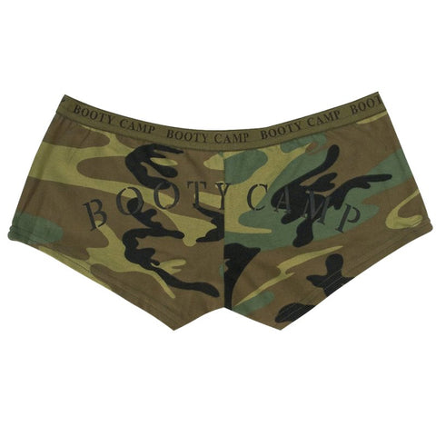 "ROTHCO WOMENS ""BOOTY CAMP"" SHORTS - WOODLAND CAMO - Hock Gift Shop 