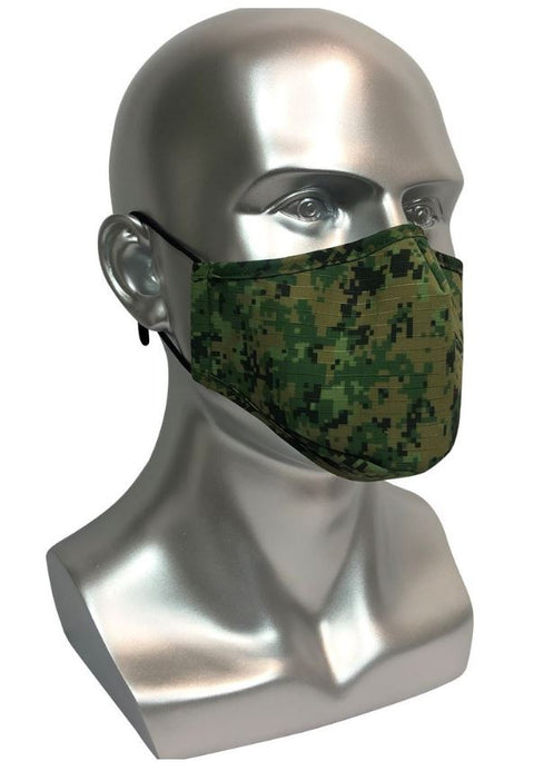 REUSABLE MASK WITH FILTER POCKET - ARMY DESIGN