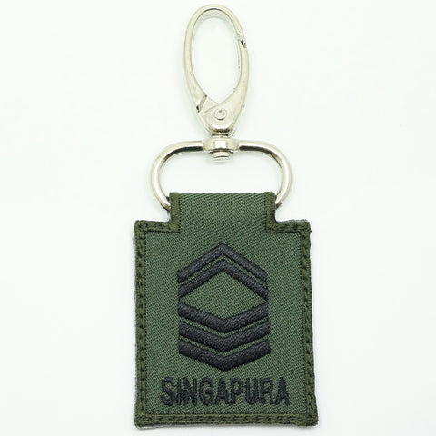 MINI SAF RANK KEYCHAIN - 1SG (OD GREEN)