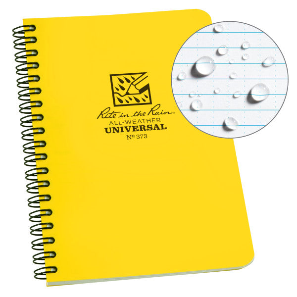 "RITE IN THE RAIN WEATHERPROOF SIDE SPIRAL 4.625"" X 7"" NOTEBOOK - YELLOW (373)"