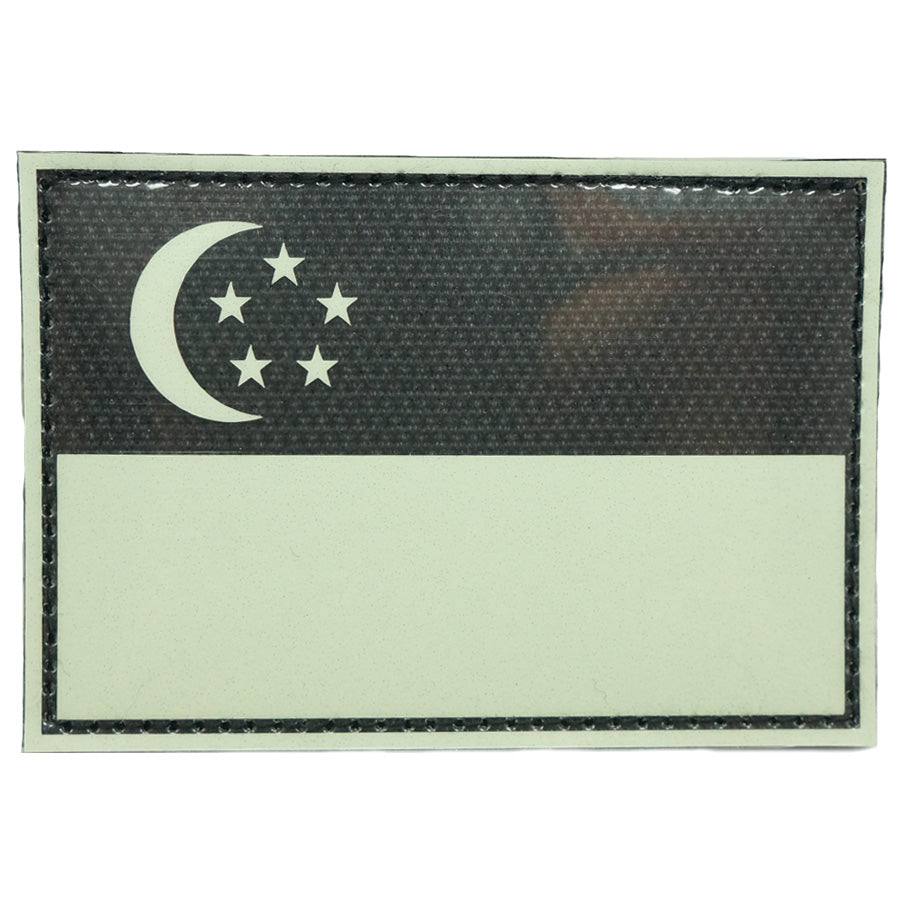 "SINGAPORE FLAG PATCH 3"" x 2"" - GLOW IN THE DARK"