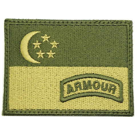 SINGAPORE FLAG WITH ARMOUR TAB - OD GREEN