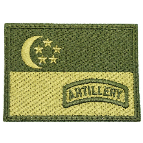 SINGAPORE FLAG WITH ARTILLERY TAB - OD GREEN