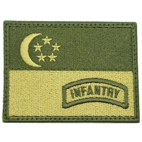 SINGAPORE FLAG WITH INFANTRY TAB - OD GREEN