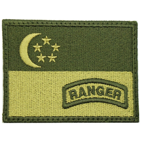 SINGAPORE FLAG WITH RANGER TAB - OD GREEN