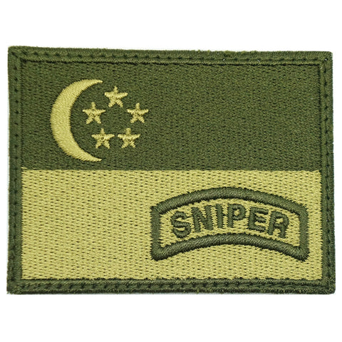 SINGAPORE FLAG WITH SNIPER TAB - OD GREEN