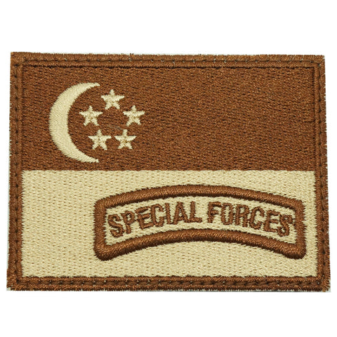SINGAPORE FLAG WITH SPECIAL FORCES TAB - KHAKI
