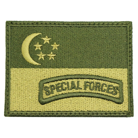 SINGAPORE FLAG WITH SPECIAL FORCES TAB - OD GREEN