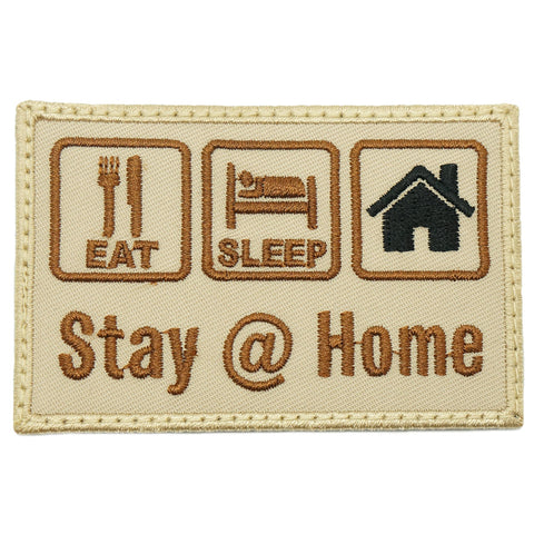EAT . SLEEP .  STAY @ HOME PATCH - KHAKI