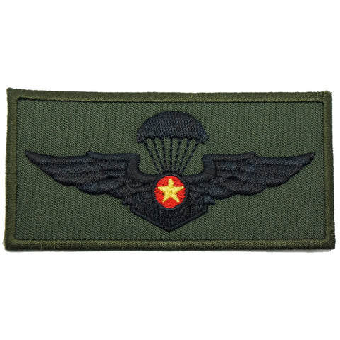 VIETNAM PARACHUTIST WING - LARGE, YELLOW STAR V1 (OD GREEN)