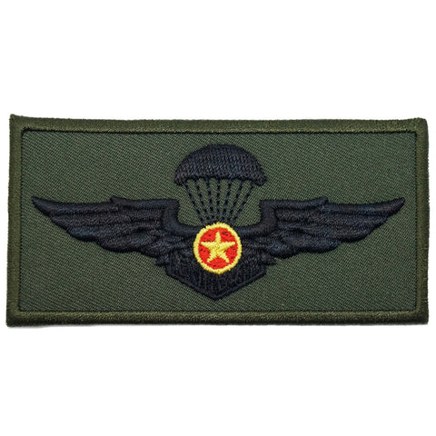 VIETNAM PARACHUTIST WING - LARGE, YELLOW STAR V2 (OD GREEN)