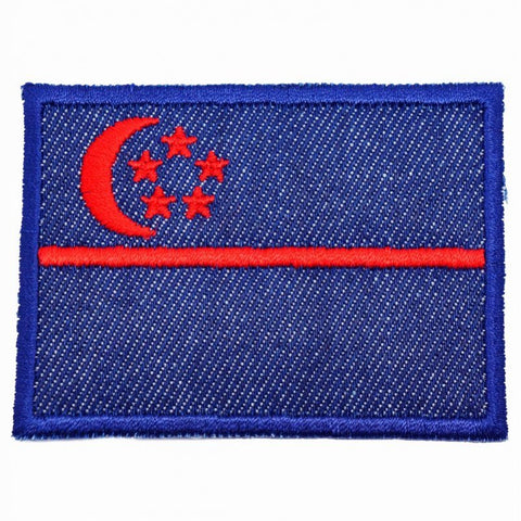SINGAPORE FLAG - DENIM, RED (LARGE) - Hock Gift Shop | Army Online Store in Singapore