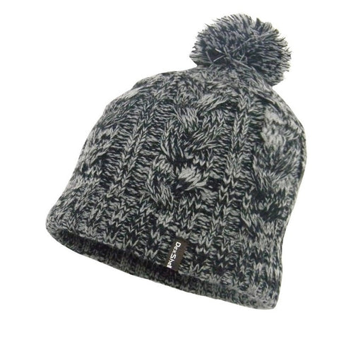 DEXSHELL BEANIE POMPOM - BLACK WITH GREY