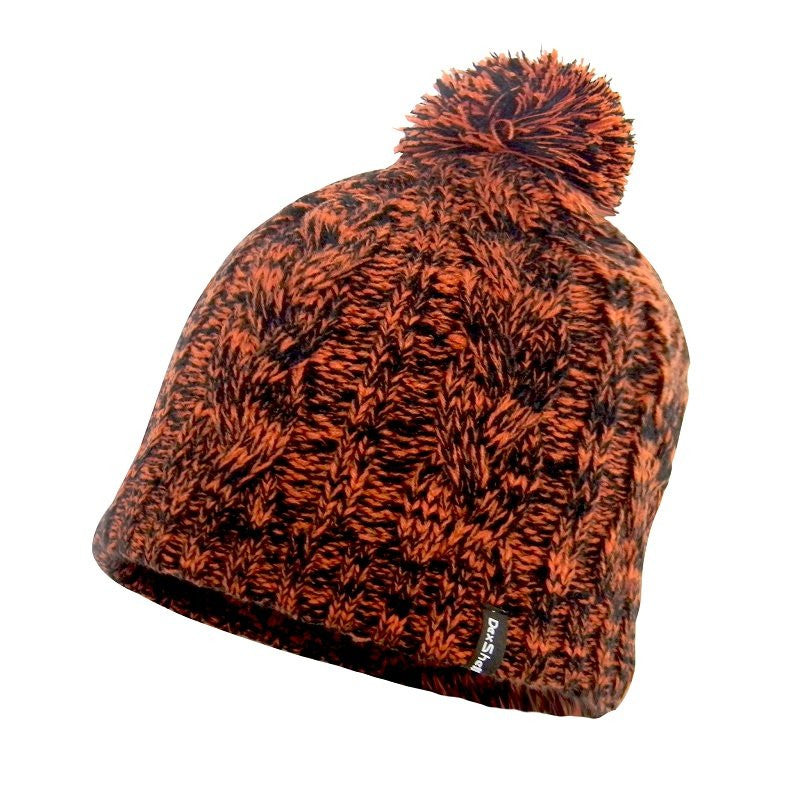 DEXSHELL BEANIE POMPOM - BLACK WITH TANGELO RED