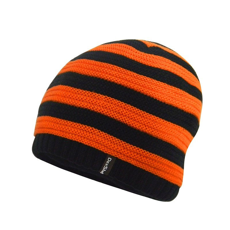 DEXSHELL CHILDREN BEANIE - BLACK WITH TANGELO RED