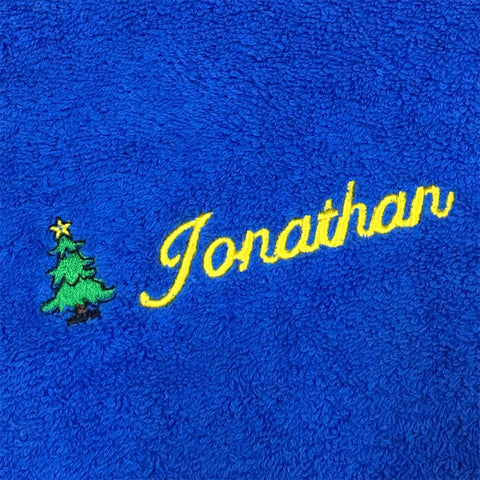 GUEST TOWEL WITH NAME & XMAS TREE EMBROIDERY (BLUE)