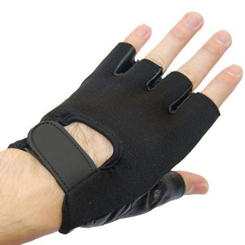 HALF CUT LEATHER GLOVES (FULL NEOPRENE TOP)