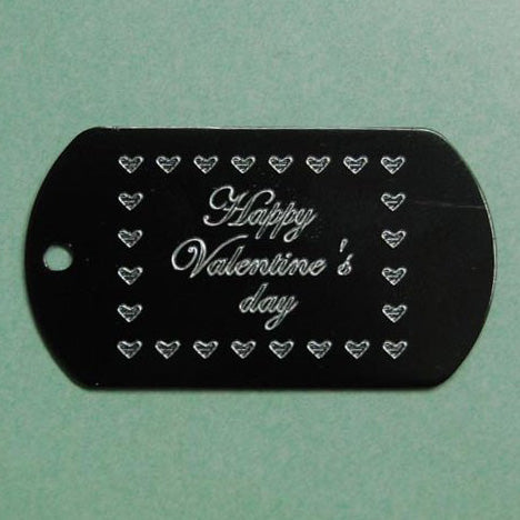 HAPPY VALENTINE'S DAY DOG TAG (HEARTS BORDER)