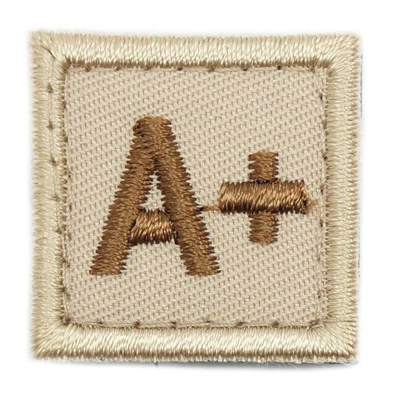 "HGS BLOOD GROUP 1"" PATCH, A+ (KHAKI) - Hock Gift Shop 