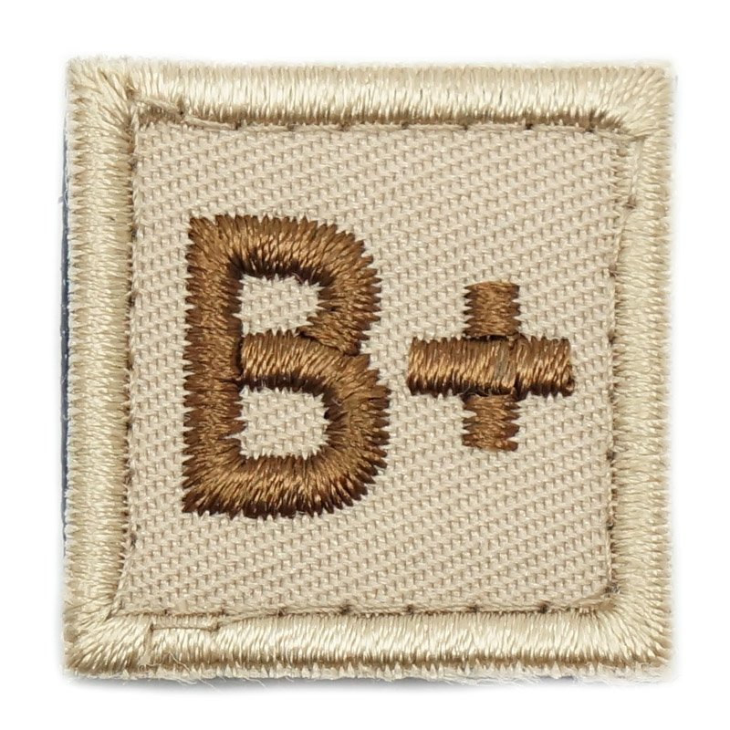 "HGS BLOOD GROUP 1"" PATCH, B+ (KHAKI) - Hock Gift Shop 