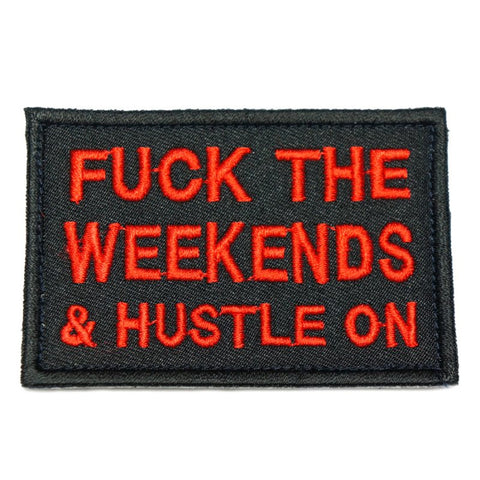 HUSTLE ON PATCH - BLACK WITH RED WORDS - Hock Gift Shop | Army Online Store in Singapore