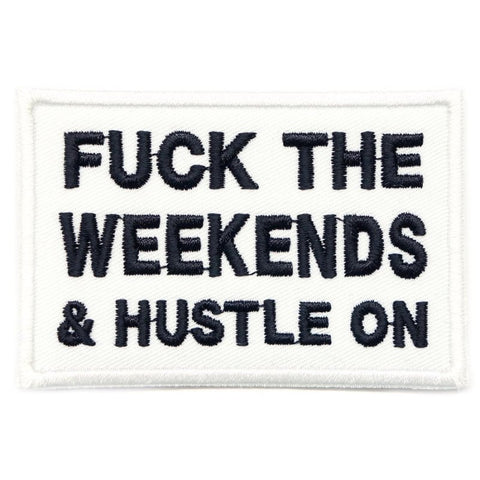 HUSTLE ON PATCH - WHITE WITH BLACK WORDS - Hock Gift Shop | Army Online Store in Singapore