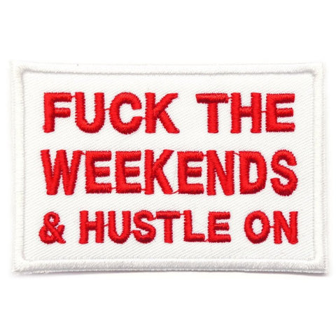 HUSTLE ON PATCH - WHITE WITH RED WORDS - Hock Gift Shop | Army Online Store in Singapore