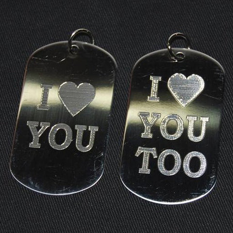 I LOVE YOU DOG TAG (1 PAIR)