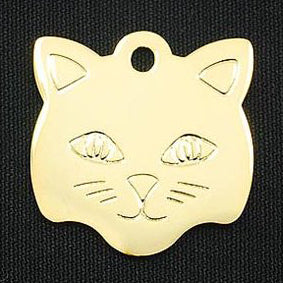 KITTY FACE BRASS TAG (GOLD)