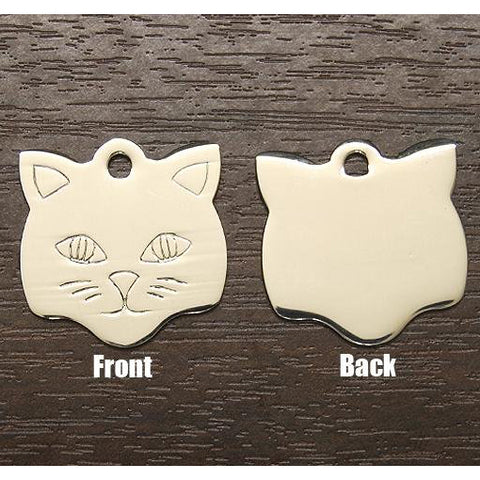 KITTY FACE METAL TAG (SMALL)