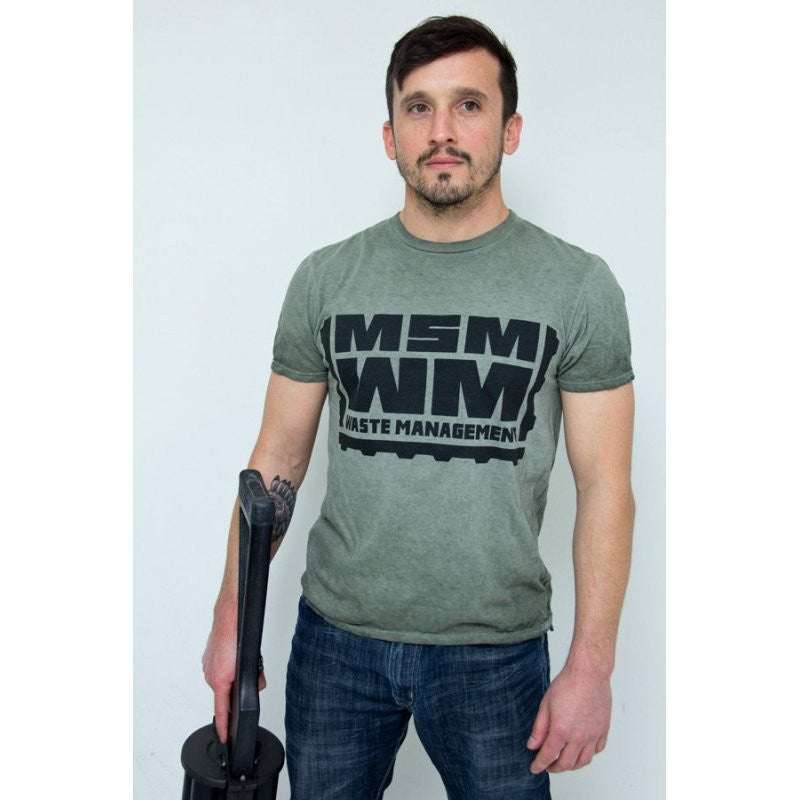 MSM WASTE MANAGEMENT T SHIRT - DISTRESSED GREEN - Hock Gift Shop | Army Online Store in Singapore