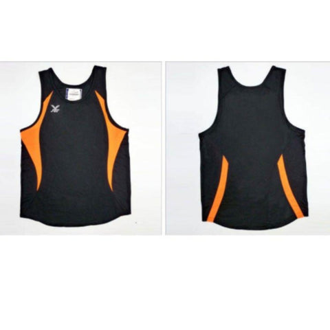 FBT MENS RUNNING TOP #619 (BLACK ORANGE, SIZE S)