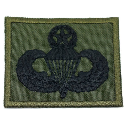 US MASTER PARACHUTIST BADGE - OD GREEN BORDER