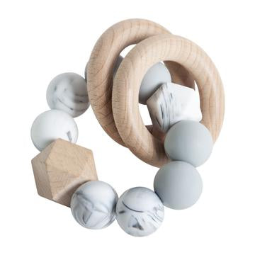 RATTLE RING TEETHER MARBLE AND GREY