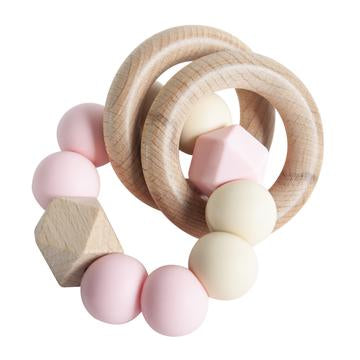 RATTLE RING TEETHER ROSE CREAM