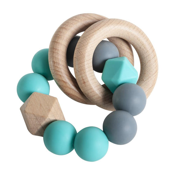 RATTLE RING TEETHER TURQUOISE AND DARK GREY