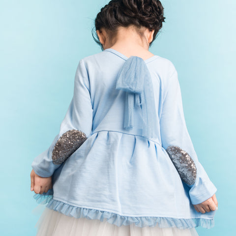 Girls Blue Long Sleeves Peplum Top | 藍色長袖腰摺上衣