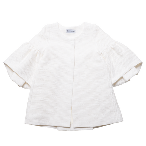 Girls White Flare Sleeves Jacket | 白色喇叭袖外套